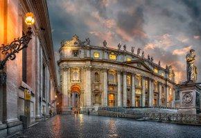 Обои Рим, Ватикан, собор Святого Петра, небо, облака, огни