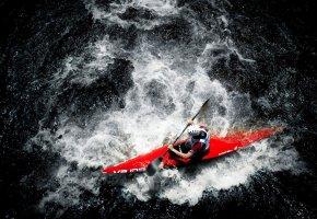 Обои водный спорт, байдарка, весло, вода, гребля