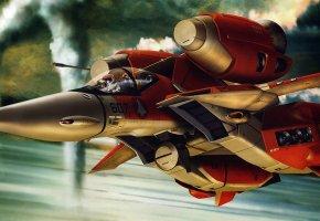 Обои трансформер, самолет, робот, двигатели, пилотируемый