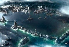 Обои assassins creed, акра, город, корабли, порт, море