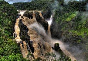 Обои мощный, поток, воды, лес, водопад