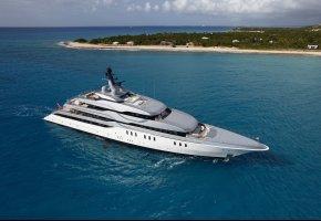 Обои океан, яхта, feadship Tango, superyacht, running
